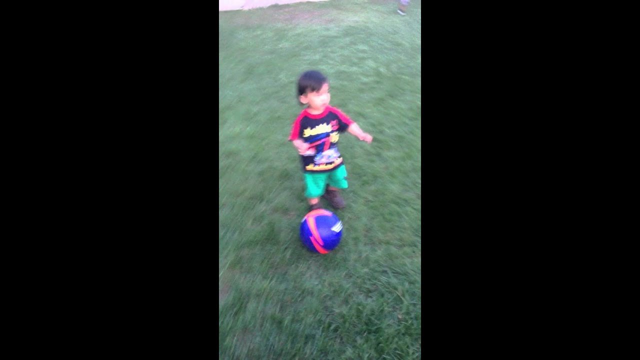 My Baby Brother Noah Kicking The Soccer Ball Youtube