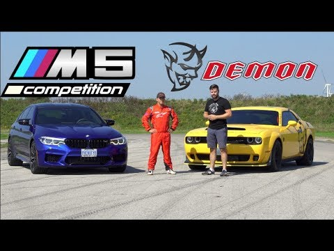 2019 BMW M5 Competition vs. Dodge Demon TRACK TEST // Drag Race, Drifting, Lap Times