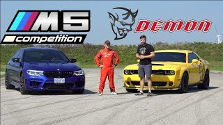 Gambar cover 2019 BMW M5 Competition vs. Dodge Demon TRACK TEST // Drag Race, Drifting, Lap Times
