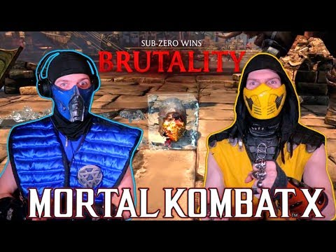 Scorpion and Sub-Zero REACT - Mortal Kombat X All Brutalities | MKX REACTION PARODY! thumbnail