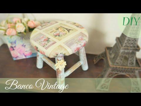 Banquinho Vintage (DIY) Como Forrar Banco de Madeira
