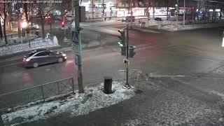 Авария с пожаром автомобиля. Короткое видео. г.Пермь. 7 февраля 2018 года.