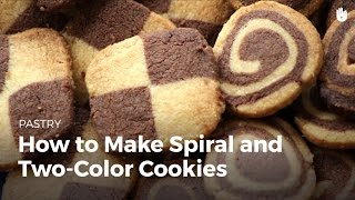Pinwheel and checkerboard twocolored cookies
