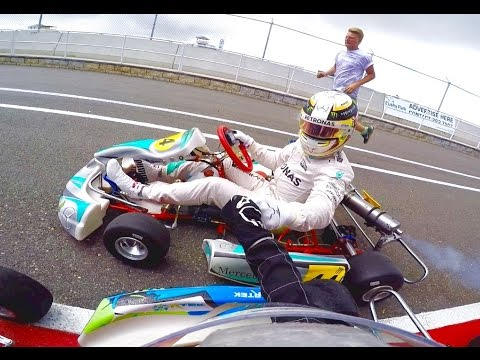 Go-Karting with Lewis Hamilton in the rain!