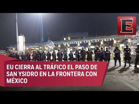 Cierran paso fronterizo de San Ysidro en la frontera de México