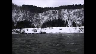 古口-草薙間の定期船。急流部分や仙人堂、白糸の滝など。右岸を撮影し...