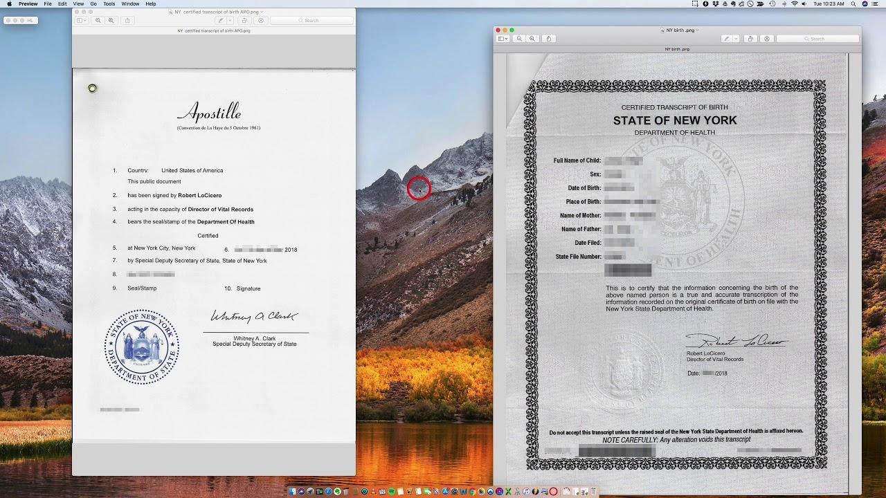 certificate york apostille state birth