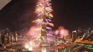 Beautifull Fireworks at Burj Khalifa Dubai New Year Night