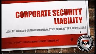 Corporate Security Liability   Security Director Training Course