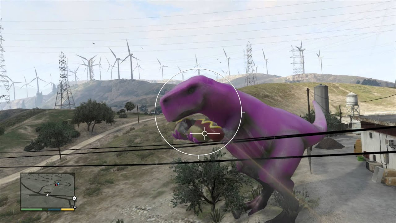 Grand Theft Auto V - Purple Dinosaur LOCATION, Barney (EASTR EGG?)