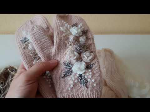 Варежки с вышивкой спицами схемы и описание