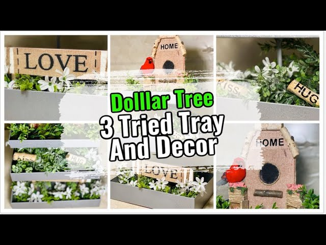 Dollar Tree DIY Galvanized 3 Tiered Tray & Farmhouse Valentine's Day or Any Day Home Decor 2020
