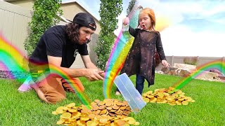 THE BOO BOO STORY! Hidden Presents from our Backyard Leprechaun for Adley (Hide N Seek Pots of Gold)