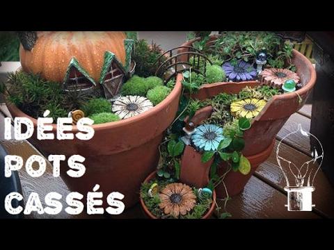 des pots cass s devenus de magnifiques jardins de f e youtube. Black Bedroom Furniture Sets. Home Design Ideas
