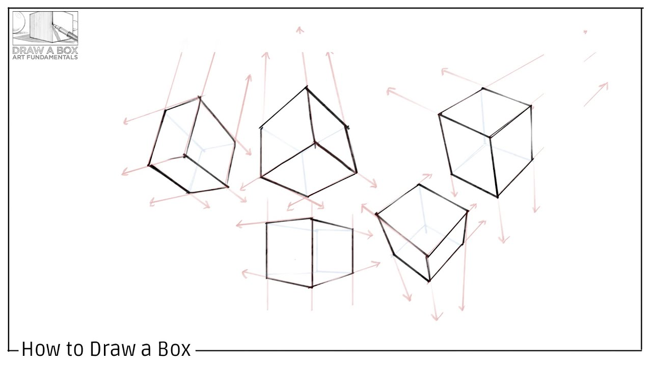 Line Art Box Design : How to draw a box youtube
