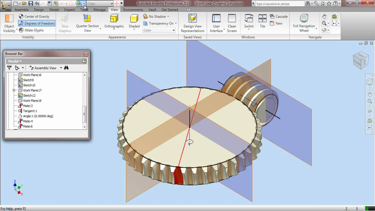 Worm Gear-Dynamic Simulation through Autodesk Inventor 2010