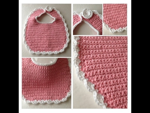 Bib Crochet Pink Baby Bib Baby Crochet Pink And White Youtube