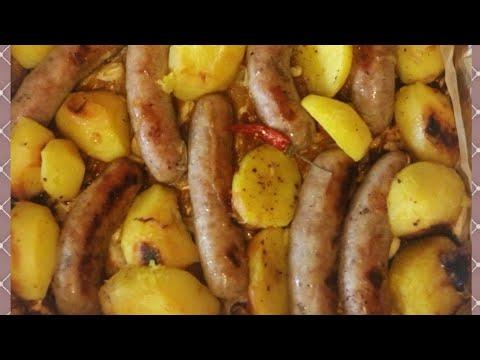 Купаты (колбаски) с картофелем запечённые в духовке