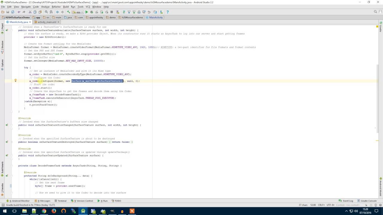 Decode H264 using a MediaCodec - Tech Series 001