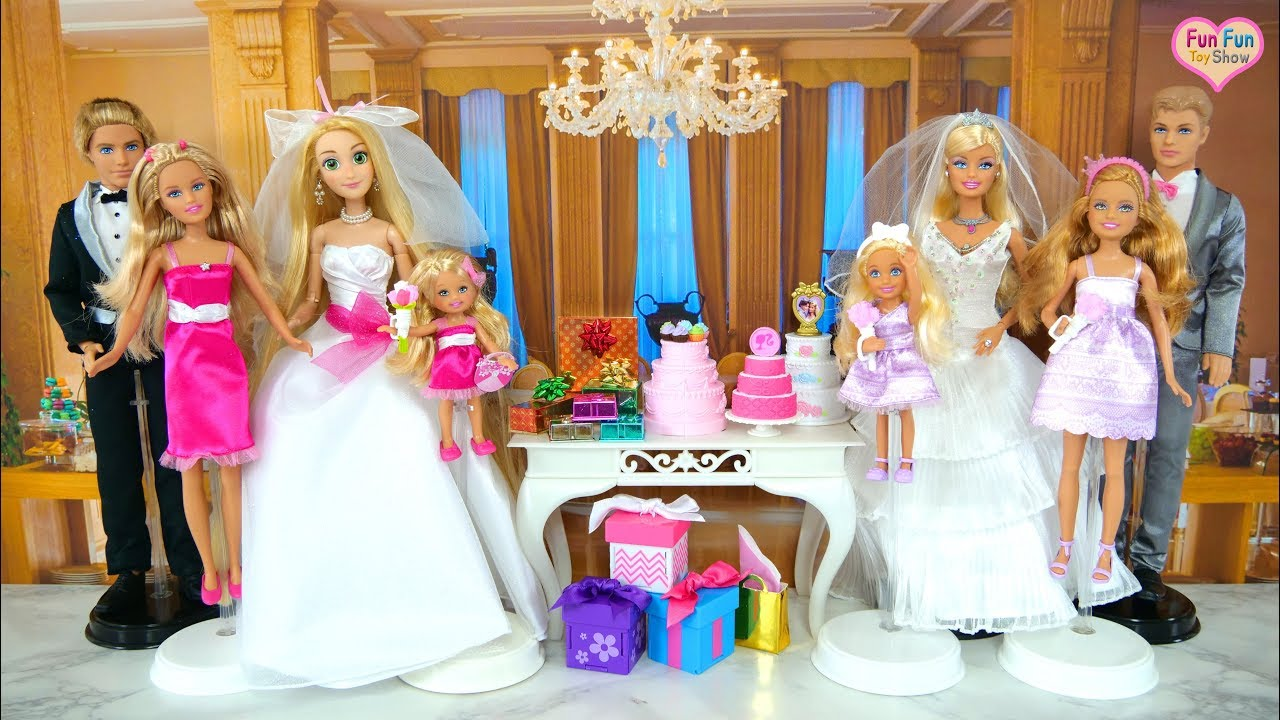 Barbie doll wedding family playset barbie puppe hochzeit set boneka barbie pernikahan