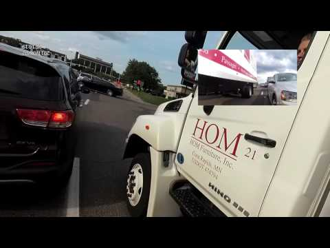 failure to yield right of way by hom deliver van + driving on the sidewalk