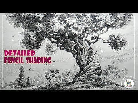 Learn How to Sketch and Shade A Detailed Tree  with Pencil | Easy Pencil Art