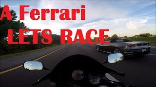 ZX10r RACES Ferrari F430 And A 4 Car Crash RIGHT IN FRONT OF ME