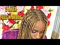 PROTECTIVE STYLES: 2 LAYER FEED IN BRAIDS. (middle part