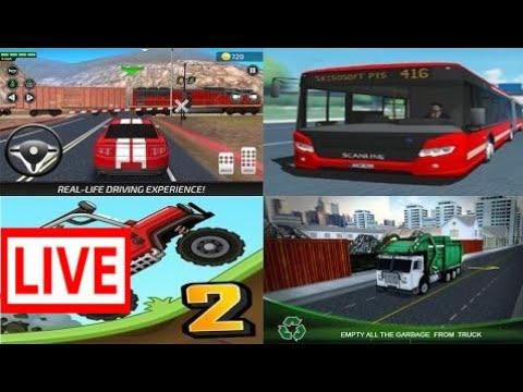 Hill Climb Racing 2 vs Car Driving Academy vs Public Transport Simulator vs Garbage Truck Driv #DAW