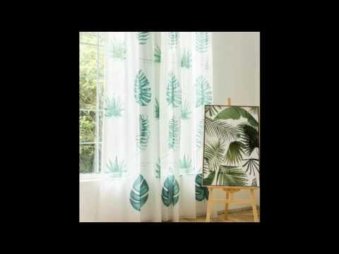 Green Tropical Elegant Summer Sheer Curtains
