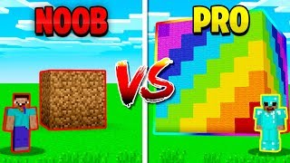 MINECRAFT NOOB vs PRO GIANT RAINBOW CUBE!