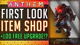 Anthem | First Look Item Shop & Origin Premier LOD Free Upgrade? #Anthem