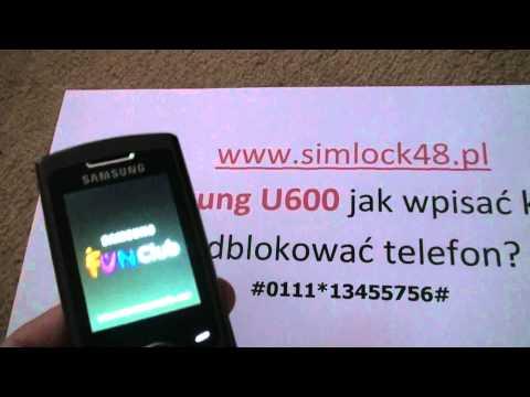Simlock Samsung U600 jak wpisać kod, Unlock Samsung U600