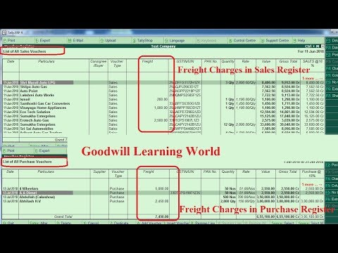 Tally TDL for Freight Charges in Purchase and Sales Invoice and Purchase and sales Register View