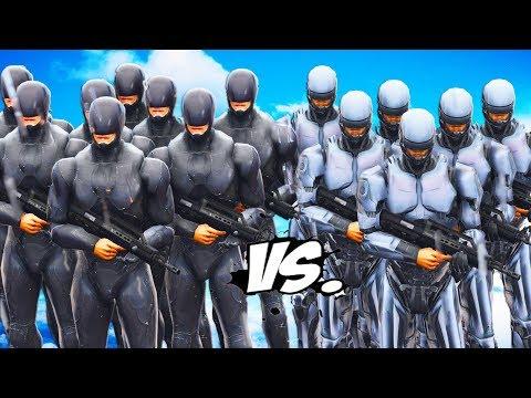Black RoboCop Army VS White RoboCop Army