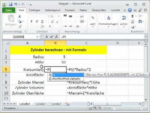 Sechskant Berechnen : excel formeln kreis 1 berechnung im blatt youtube ~ Themetempest.com Abrechnung