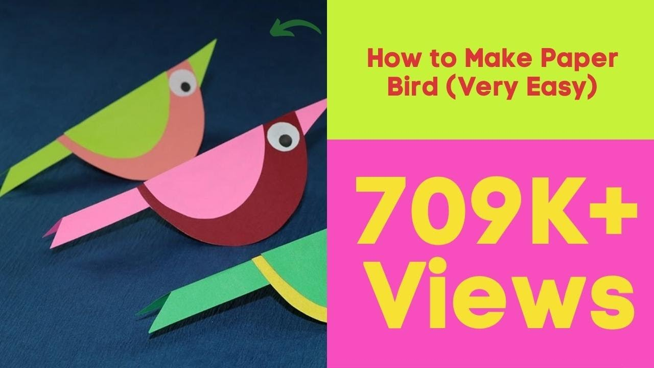 Paper Crafts For Kids How To Make Paper Bird Very Easy Youtube