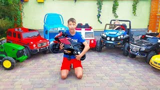 Funny Max and Nikita Ride on Power Wheel Tractor Police Car Firetruck Sportbike Tayo Cars Collection