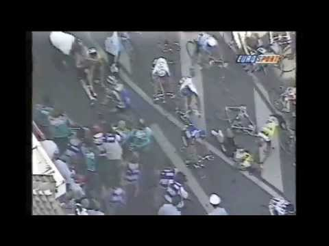 Tour de France 1994. Nelissen crashes against a policeman taking a picture