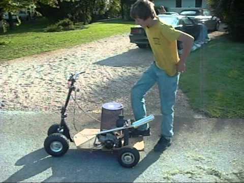 Homemade Motorized Four Wheeled Scooter Youtube
