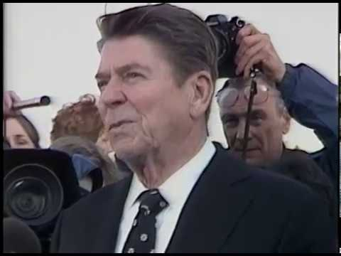 President Reagan during a Visit to the Fort Wayne, Indiana Flood Victims on March 16, 1982