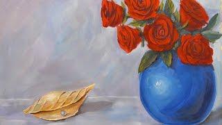 Натюрморт розы и ракушка  Гуашь
