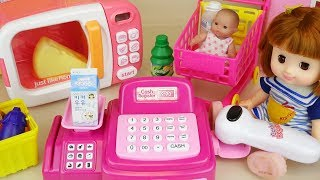 Baby doll mart register and micro oven food toys play