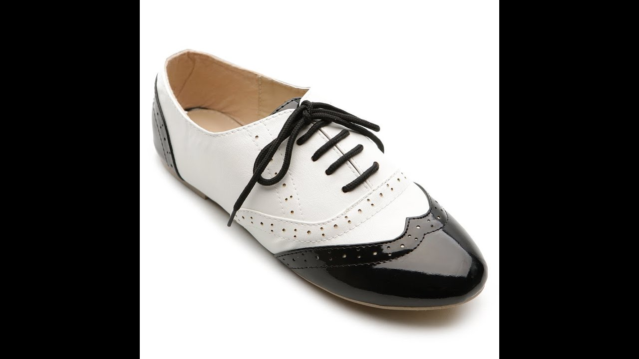 black white oxford shoes