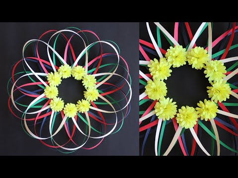 Paper Flower Wall Decoration- Easy Wall Decoration Ideas - Paper craft - DIY Wall Decor