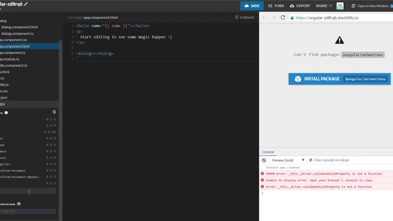 Creating dynamic modal components using Angular with appRef and injector