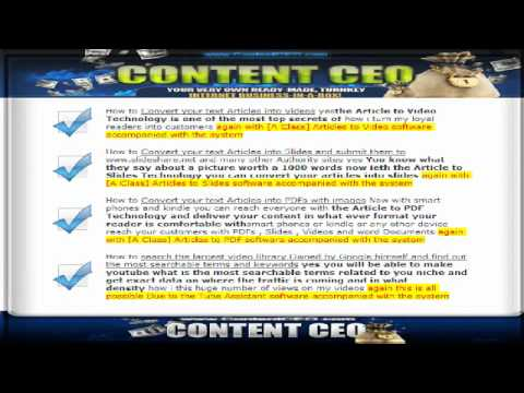 Contentceo auto Content Generation Article to Video podcast pdf the easy way to make money online