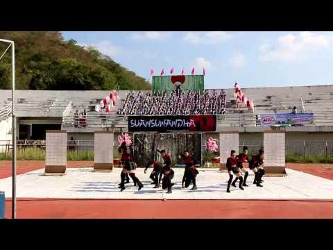 กองเชียร์ และผู้นำเชียร์ สาธิตสวนสุนันทา กีฬาสาธิตราชภัฏสัมพันธ์ ครั้งที่ 26