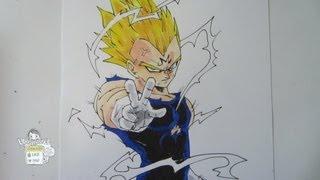 How to draw Vegeta (Majin) from Dragon Ball Z ベジータ 超サイヤ人2
