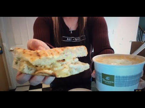 Eating Panera Bread - Chipotle Chicken Avocado Melt And Broccoli Cheddar Soup!